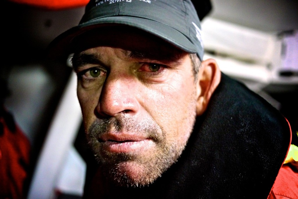 The red stinging eyes of Stuart Bannatyne after coming off watch, onboard Camper with Emirates Team New Zealand during leg 8 of the Volvo Ocean Race 2011-12, from Lisbon, Portugal to Lorient, France.  © Hamish Hooper/Camper ETNZ/Volvo Ocean Race
