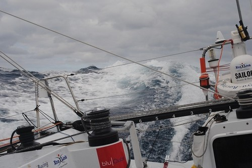 Flying down a wave at the height of the storm - Global Ocean Race 2011-12 © Phesheya Racing
