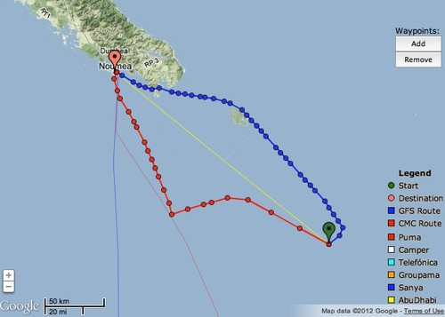 Lighter and changing winds have slowed TVS's direct route at Noumea a sailing at up to 35kts - June 5, 2012 at 0730hrs © PredictWind.com www.predictwind.com