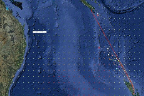 Fleet positions at 0930 - June 5, 2012 at 0930 hrs. Beau Geste is at Norfolk Island. V5 has tacked, and TVS is closing in on the finish at Noumea. © Sail Noumea 2012 http://www.sailnoumea.com/