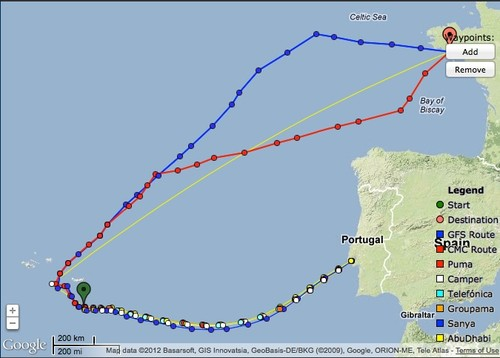 Course options open up on on the final half of the return leg to Lorient on leg 8 © PredictWind.com www.predictwind.com