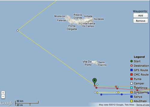 The fleet remains close, but with a small split beginning as they near the rounding mark off Sao Miguel © PredictWind.com www.predictwind.com