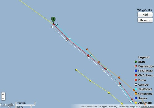 Zoom view of three lead boats Leg 6 at 1800hrs on 02 May 2012 GMT  © PredictWind.com www.predictwind.com