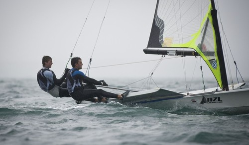 Marcus Hansen and Josh Porebski (NZL) racing in the 49er class on the day 4 of the Skandia Sail for Gold Regatta, in Weymouth © onEdition http://www.onEdition.com