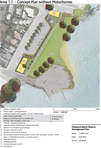Current proposal for the revamaped Takapuna Camping Ground with the road extension clear, garaging underneath, and the hardstand and NOWSC in the top centre of the graphic. © Auckland Council http://www.aucklandcouncil.govt.nz