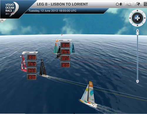The VOR fleet sailing at 10kts in 19kts of breeze with the Sao Miguel mark at the Azores, in the background © Virtual Eye/Volvo Ocean Race http://www.virtualeye.tv/
