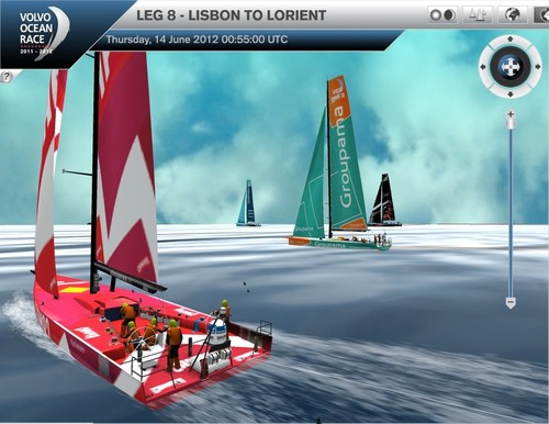 At the 0400hrs sked on Day 4 of Leg 8 of the Volvo Ocean Race, the fleet were all closely grouped but Groupama had passed Camper © Virtual Eye/Volvo Ocean Race http://www.virtualeye.tv/