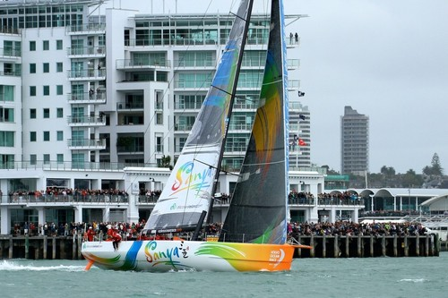 Sanya leads and tacks out of the wharves, with a big crowd behind her - Volvo Ocean Race Auckland - Start March 18,2012 © Richard Gladwell www.photosport.co.nz