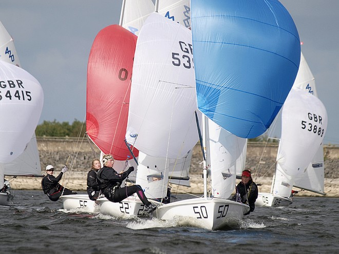 UK 420 Inlands – Rosie & Anna Watkins lead this pack © Philip Alton