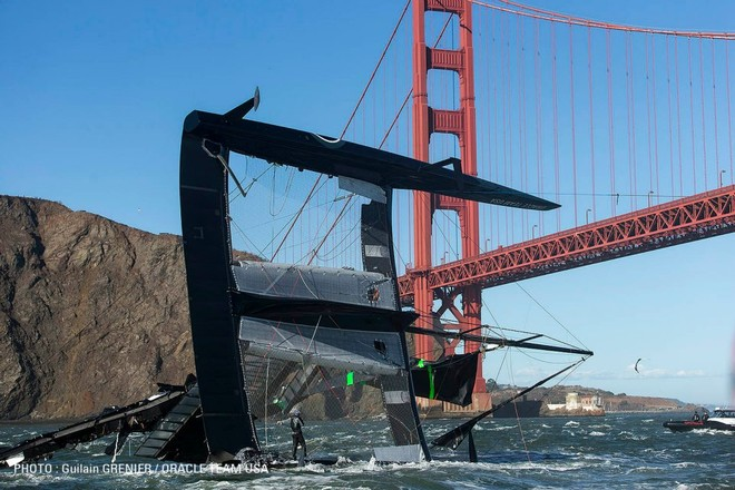 Oracle Team USA's AC72 is carried under Golden Gate Bridge after capsizing © Guilain Grenier Oracle Team USA http://www.oracleteamusamedia.com/