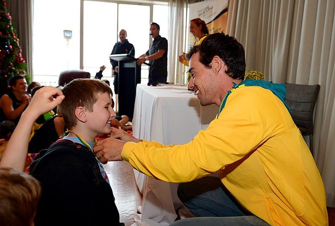 Olympic Gold medal sailor, Matthew Belcher (AUS)speaks with kids today at Royal Melbourne Yacht Squadron Sunday Dec 2nd /St Kilda, Victoria as part of the Oceanic Leg of the ISAF Sailing World Cup 2012 at Sandringham Yacht Club © Jeff Crow/ Sport the Library http://www.sportlibrary.com.au
