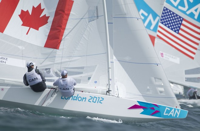 Richard Clarke and Tyler Bjorn (CAN), competing in the Men's Star event in The London 2012 Olympic Sailing Competition. © onEdition http://www.onEdition.com