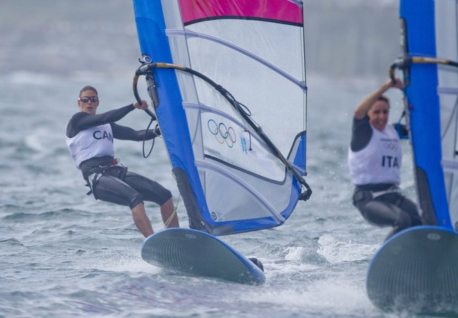 Nikola Girke (CAN) competing in the Women's Windsurfer (RSX) event in The London 2012 Olympic Sailing Competition. © onEdition http://www.onEdition.com