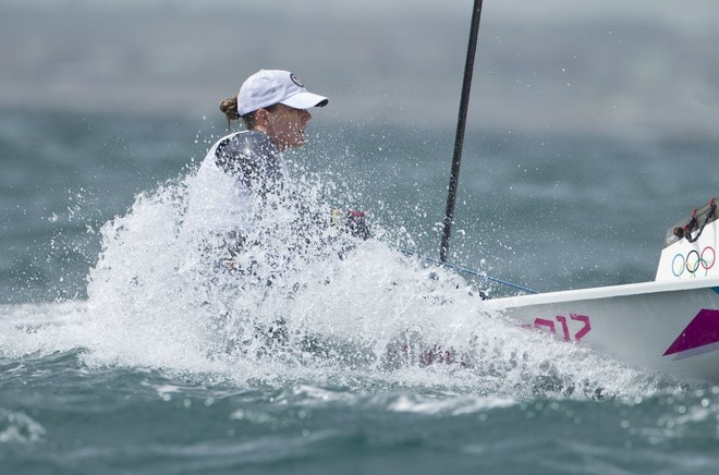 Paige Railey (USA) competing in the Women's One Person Dinghy (Laser Radial) event in The London 2012 Olympic Sailing Competition. © onEdition http://www.onEdition.com