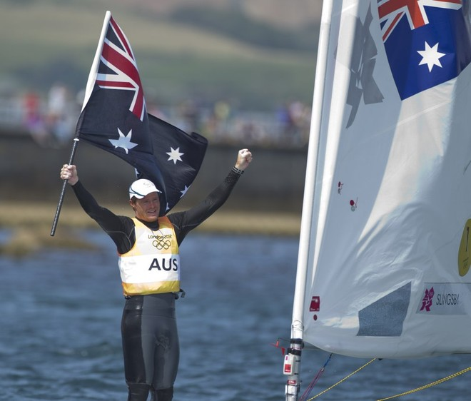 Tom Slingsby (AUS) who won the Gold Medal today, 06.08.12, in the Medal Race Men's One Person Dinghy (Laser) event in The London 2012 Olympic Sailing Competition. © onEdition http://www.onEdition.com