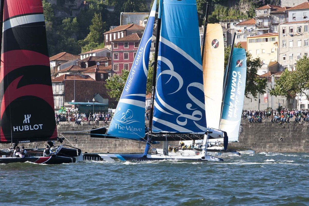 Act 4, Porto: Images on the final day of racing, showing The Wave Muscat, skippered by Leigh McMillan (GBR), with tactician Ed Smyth (NZL), mainsail trimmer Pete Greenlagh (GBR), headsail trimmer Bleddyn Mon (GBR) and bowman Hashim Al Rashdi (OMA). © Roy Riley / Lloyd Images http://lloydimagesgallery.photoshelter.com/