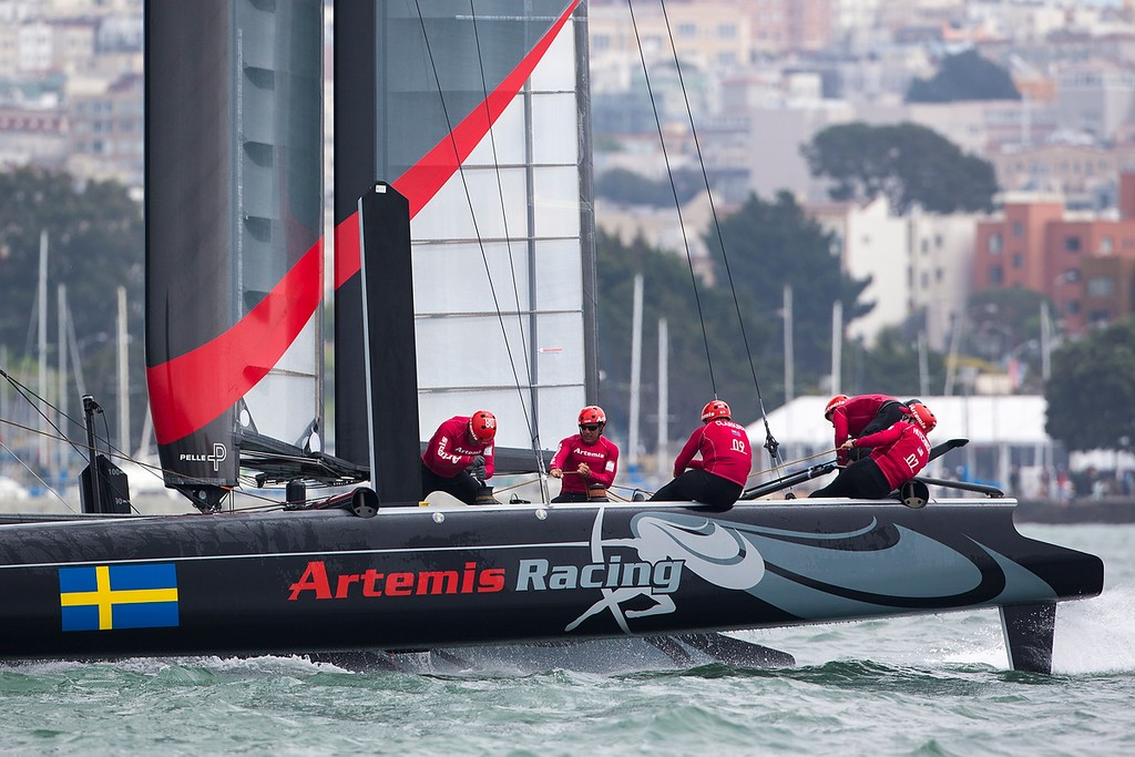 Practice day, August 21st 2012, AC45 World Series San Francisco. © Sander van der Borch / Artemis Racing http://www.sandervanderborch.com
