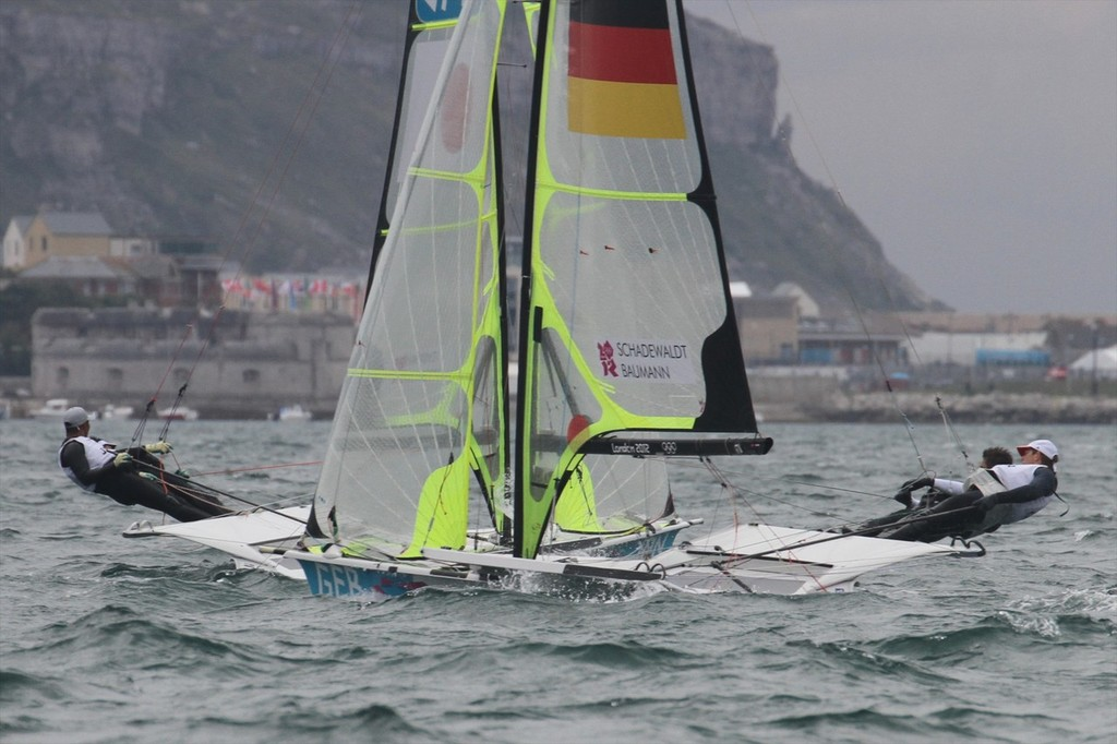 August 1, 2012 - Weymouth, England - 49er Race 5 © Richard Gladwell www.photosport.co.nz
