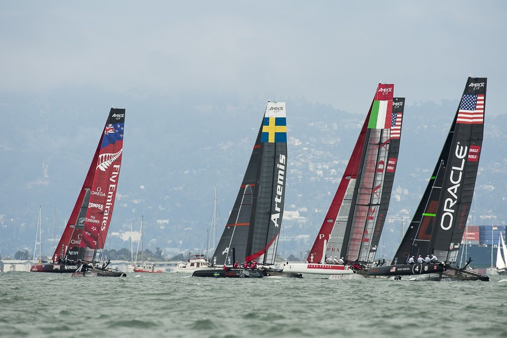 Emirates Team New Zealand gets a good start in the first fleet race on day four of the  America's Cup World Series, San Francisco. 25/8/2012 © Chris Cameron/ETNZ http://www.chriscameron.co.nz