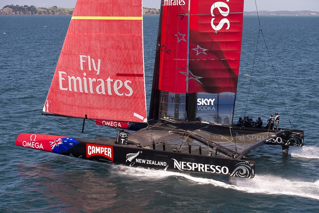 Emirates Team New Zealand testing the  AC72 on the Hauraki Gulf. 31/10/2012 © Chris Cameron/ETNZ http://www.chriscameron.co.nz