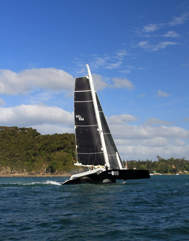 Triple 8 finishes as third multihull home in the 2012 Coastal Classic © Steve Western www.kingfishercharters.co.nz
