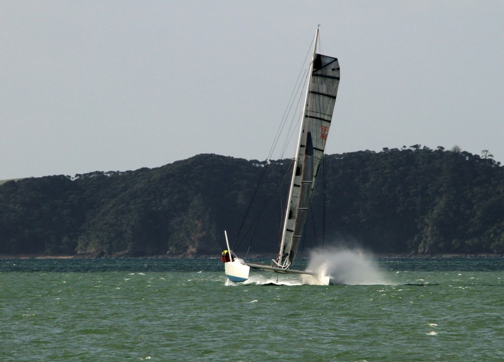 Taipeng has the spray flying as she finishes the 2012 Coastal Classic © Steve Western www.kingfishercharters.co.nz