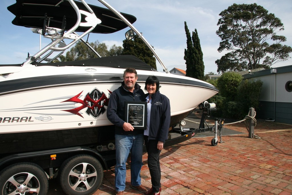 Scott O'Hare and Dani Limback, showing new models and favourites at SCIBS 2013. © Chaparral Australia