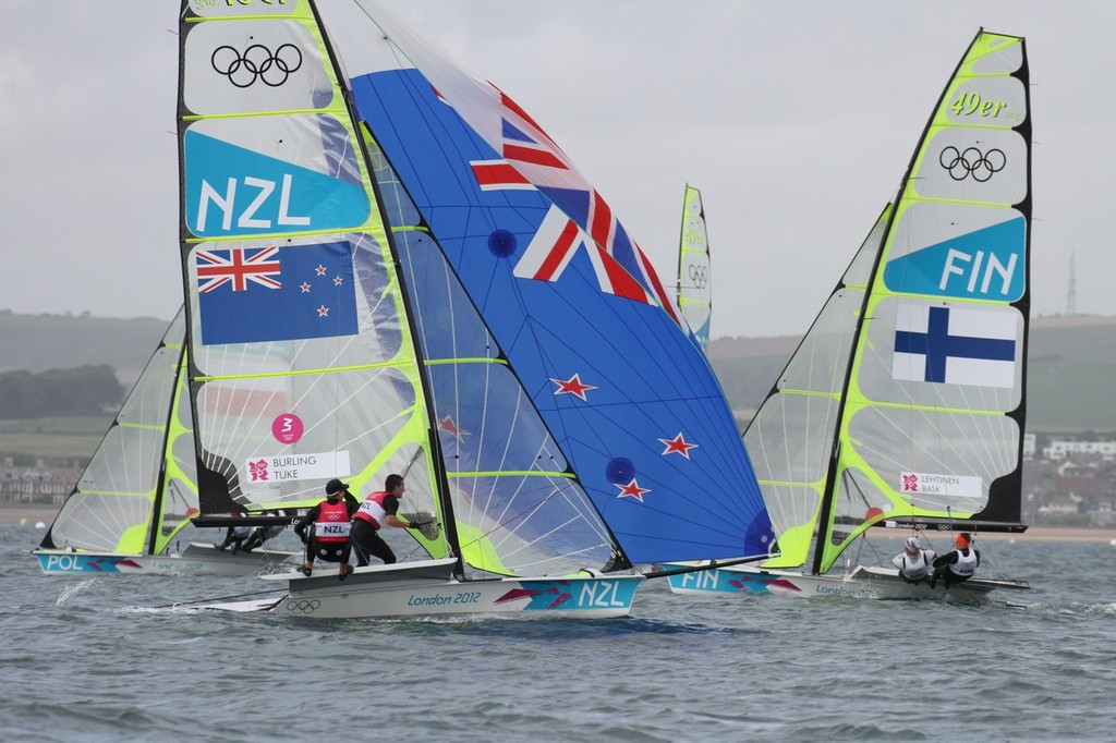 Silver-medal winners Peter Burling and Blair Tuke (NZL) racing at the London Olympics 2012. Mackay Boats were the predominat builder in the 470 Mens, 470 Womens and 49er classes © Richard Gladwell www.photosport.co.nz