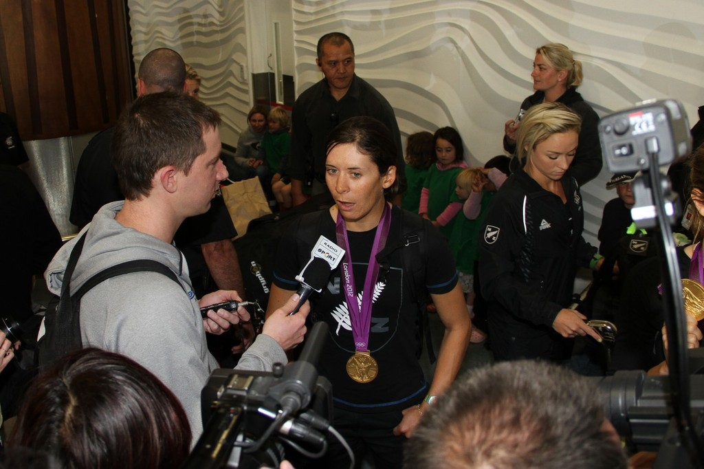 470 Womens Gold Medalist, Jo Aleh being interviewed on her return to Auckland © Richard Gladwell www.photosport.co.nz