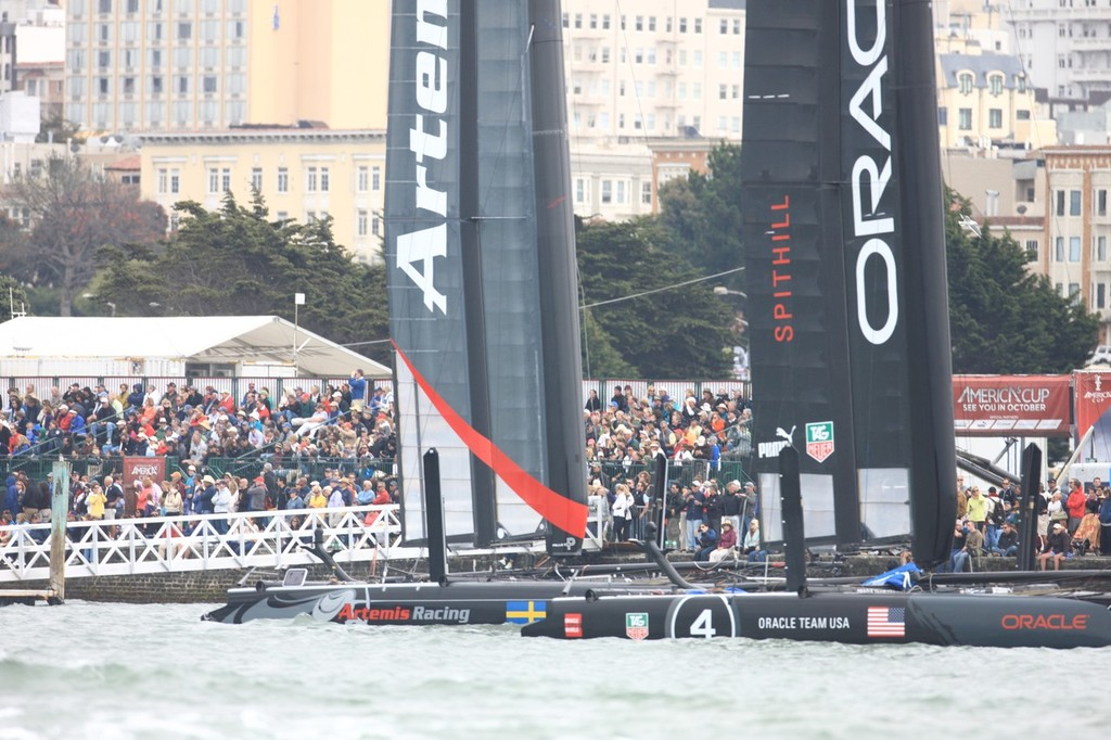 Taking it to the people - America's Cup World Series San Francisco 2012 August, Match Racing Qualifier photo copyright ACEA - Photo Gilles Martin-Raget http://photo.americascup.com/ taken at  and featuring the  class