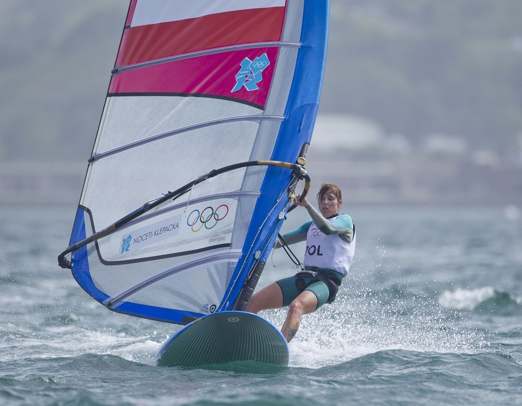 Zofia Noctei-Klepacka (POL) competing in the Women's Windsurfer (RSX) event in The London 2012 Olympic Sailing Competition. © onEdition http://www.onEdition.com