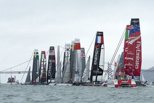 Emirates Team New Zealand at the pin end of the line for the start of the second fleet race on day four of the  America's Cup World Series, San Francisco. 25/8/2012 © Chris Cameron/ETNZ http://www.chriscameron.co.nz