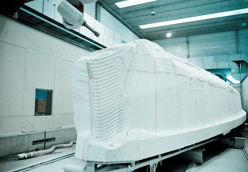 The plug of the mould of the new 65-foot hull being shaped at Persico Spa. © Volvo Ocean Race http://www.volvooceanrace.com