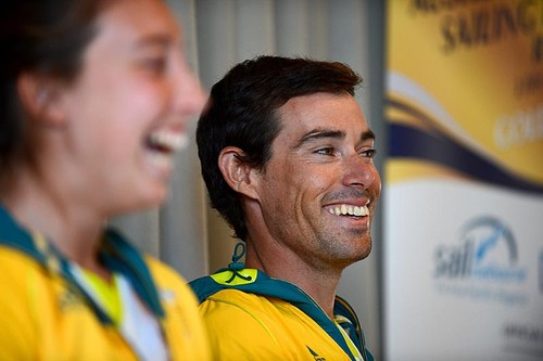 Olympic Gold medal sailor, Matthew Belcher (AUS)<br /> speaks with kids today at Royal Melbourne Yacht Squadron<br /> Sunday Dec 2nd /St Kilda, Victoria as part of the <br /> Oceanic Leg of the ISAF Sailing World Cup 2012<br /> Sandringham Yacht Club, Victoria AUSTRALIA<br /> December 2nd - 8th, 2012 <br /> © Sport the library / Jeff  Crow &copy; Jeff Crow/ Sport the Library http://www.sportlibrary.com.au