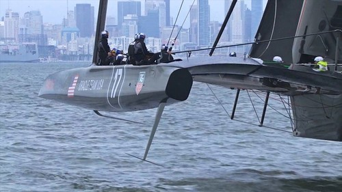 Oracle Team USA's Boat 1.0 showing the L daggerboard and rudder. © SW