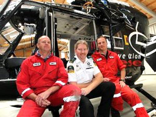 Modest heroes:  Senior winchman Geoff Taylor, St John Ambulance advanced paramedic Stephen Smith and pilot Dean Herrick ©  SW