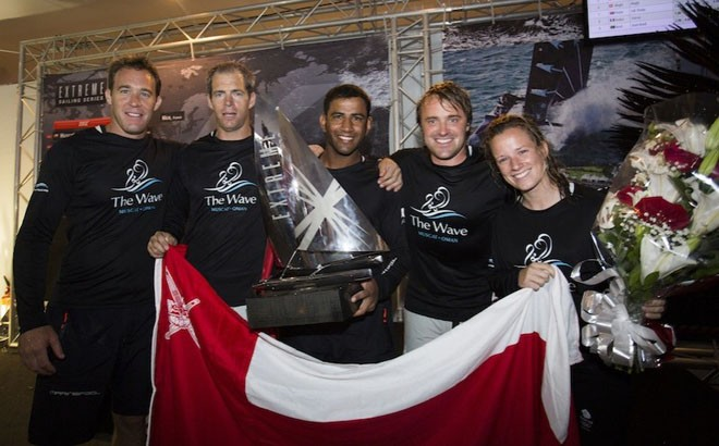 The Wave, Muscat with the trophy - 2012 Extreme Sailing Series - Act 8 Rio © Lloyd Images http://lloydimagesgallery.photoshelter.com/