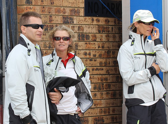 Some of the crew including Peter Cosman on the left await Grant Wharington's return from the CYCA Sailing Office - Rolex Sydney Hobart Yacht Race ©  John Curnow