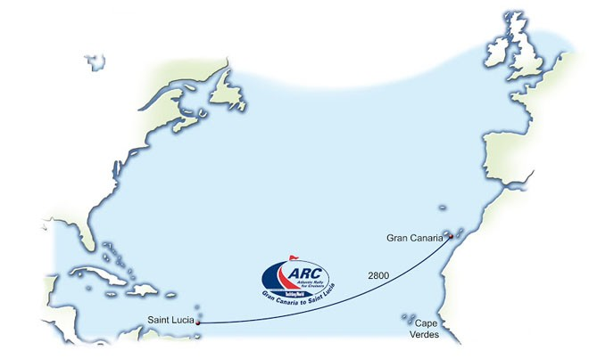 Atlantic Rally for Cruisers (ARC) 2012 route map © World ARC - http://www.worldcruising.com/arc/