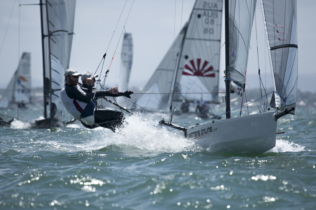 The racing was tight in the middle of the pack  - I14 Australian Championships 2012 © Andrew Gough