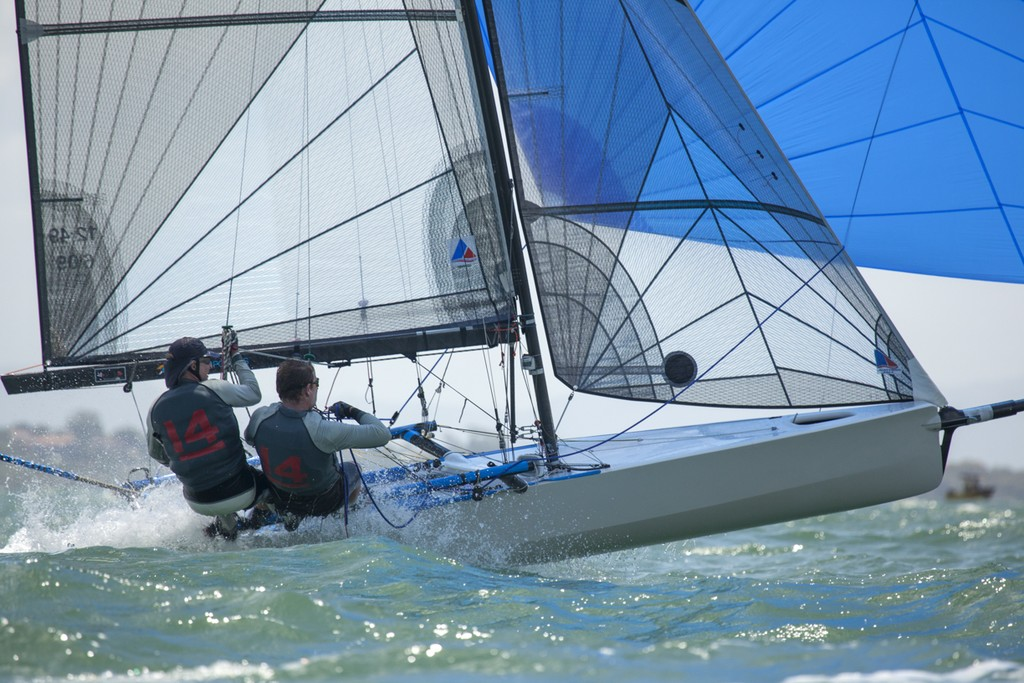 Fun downwind rides for everyone in the fleet in the moderate breeze  - I14 Australian Championships 2012 © Andrew Gough