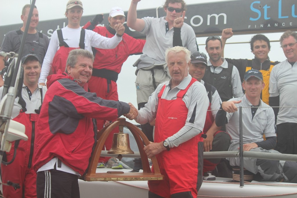 The Wedgetail crew celebrate with the Line Honours trophy with CHYC Commodore Garry Ennis  - 2013 Club Marine Pittwater and Coffs Harbour Regatta © Damian Devine