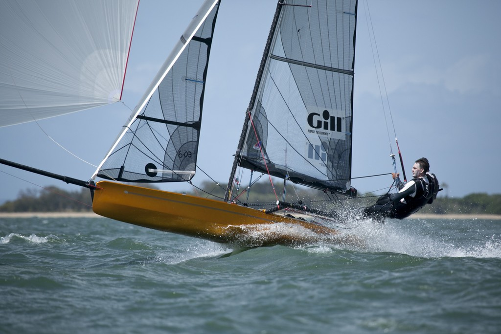 Devine and Furlong fly downwind to win race two  - I14 Australian Championships 2012 © Andrew Gough