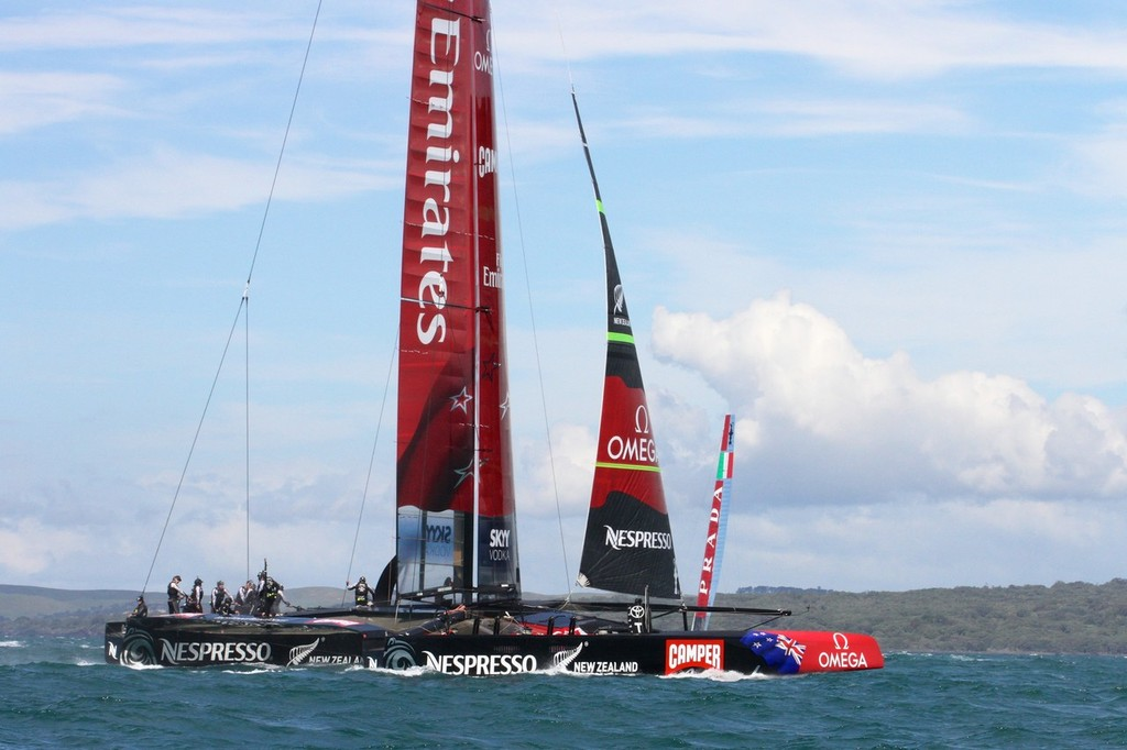 Emirates Team NZ's AC72 heads for home, leaving Luna Rossa to sail another beat alone, on the NZ teams final day of sailing on Wednesday. © Richard Gladwell www.photosport.co.nz