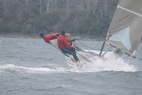 AUS 367 - Steve Miller and Earle Westbury sailing Phantom! Got on that Hiking Earle! - Goaty Hill West Tamar Council B14 National Championships 2012 -2013 © Judi Marshall