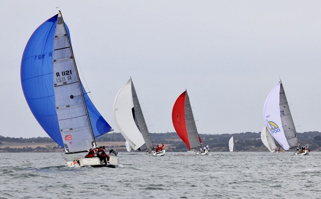 Executive Decision chases down the Beneteau First 45s on the way in to Spray Point. - Festival of Sails ©  John Curnow