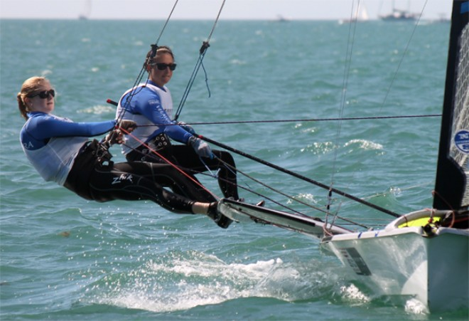 ISAF Sailing World Cup Miami 2013 - Allie Blecher and Helena Scutt (USA) end the opening day in sixth © ISAF