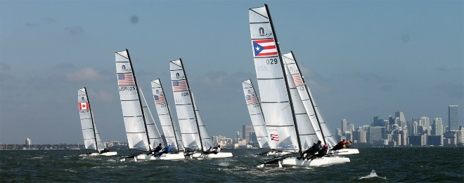 The first ever Nacra 17 race gets underway at ISAF Sailing World Cup Miami © ISAF