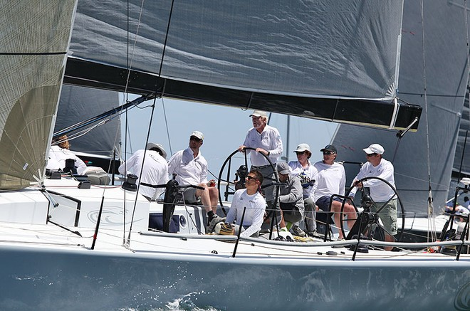 John 'Willow' Williams behind the helm of Calm. - TP52 Southern Cross Cup ©  John Curnow
