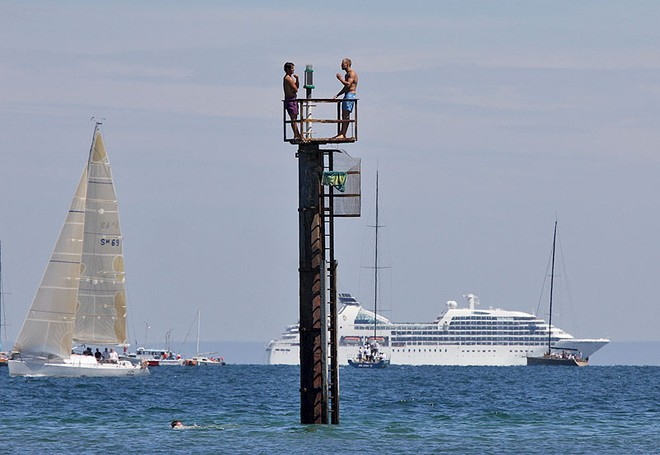 The things people will do to watch a yacht race. - TP52 Southern Cross Cup ©  John Curnow